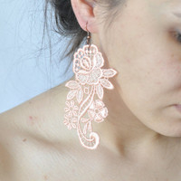 Salmon lace earring -Victorian Lace Earrings - boho victorian lace jewelry-statement earring-lace earring-wedding jewelry-bridal jewelry