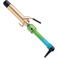 """Neon Soft Touch 1 1/4"""" Gold Curling Iron Green-Blue Handle"""