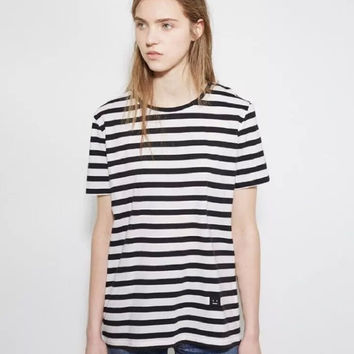 Striped Print Short Sleeve Loose T-Shirt