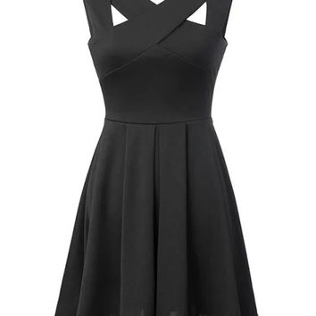 Black Cut-Out Cross V-Neckline Sleeveless Skater Dress