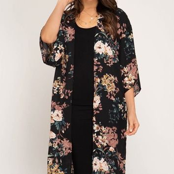 First Bloom Kimono + - Black