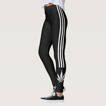 Sporty ganja leggings, funny rework, well known leggings