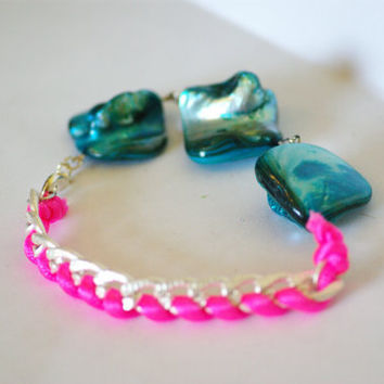 Hot Pink and Teal Friendship Bracelet With Silver Chain, Neon Pink Cord, Teal Beads