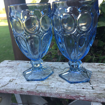Vintage glassware, vintage Fostoria Moonstone light blue ice tea goblets, light blue ice tea glasses, blue wedding toasting, blue glass