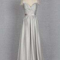 Grey Evening Dress, V-neck Evening Dress made from Chiffon or Satin Chiffon