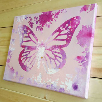 Pink Butterfly- Acrylic Painting, Butterfly Art, Abstract, Girl's Room, Baby Shower, Modern, Wall Hanging, Classroom, Unique  (11x14)
