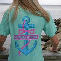 Country Life Outfitters Southern Attitude Anchor Bow Mint Vintage Girlie Bright T Shirt