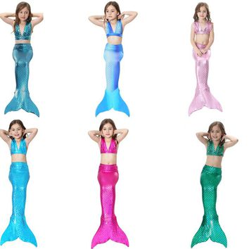 3Pcs Girl's Sexy Bikini Mermaid Tails Swimming Costume for Kid  Cosplay Cloth Summer Dress