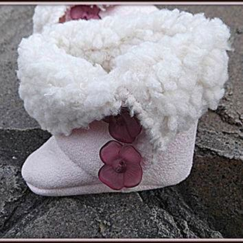 CHEN1ER Trendy Baby Ugg Style Boots Pink Button Accents Children's Sherpa Faux Suede Booties