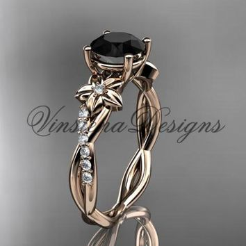 14kt rose gold flower diamond engagement ring, Enhanced Black Diamond ADLR388