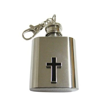 Religious Black Cross 1 Oz. Stainless Steel Key Chain Flask