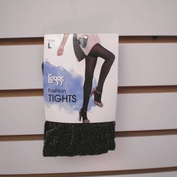 Brand New Women's L'eggs Leggs Black Metallic Fashion Tights Size Large ( Q )