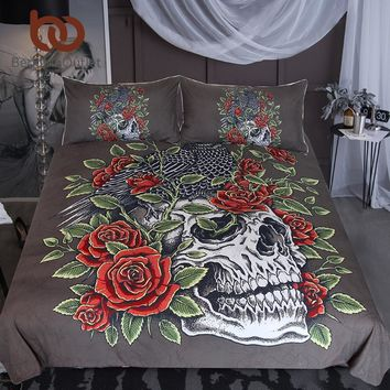 BeddingOutlet Skull Bedding Set Bird Crow Duvet Cover Set Leaves Flower Roses Bedclothes Black Red Gothic Home Textiles 3-Piece