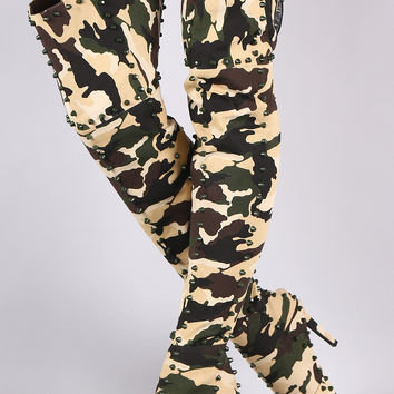 Camouflage Studded Pointy Toe Stiletto Over-The-Knee Boots | UrbanOG