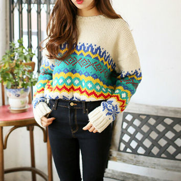 Geometric knit pullover AS107BF