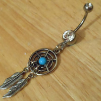 Dream Catcher and Clear Gem Belly Button Ring - Belly Button Ring