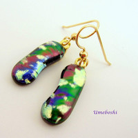 Abstract Colors Dichroic Fused Glass Multi-colored Dangle Earrings Umeboshi Jewelry