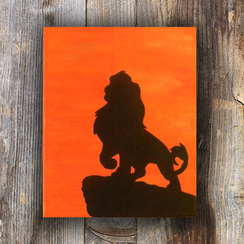 Lion Painting, Lion Silhouette, Lion on a Rock, Lion in Sunset, Silhouette Painting, Silhouette Art