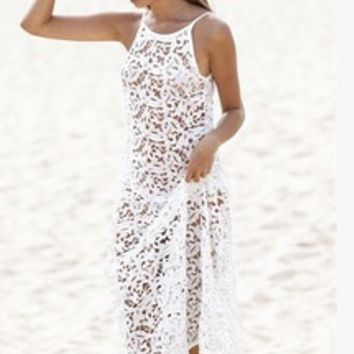 Hollow Out Lace Strappy Dress