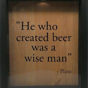 "Wooden Shadow Box Wine Cork/Bottle Cap Holder 9""x11"" - He Who Invented Beer Was A Wise Man"