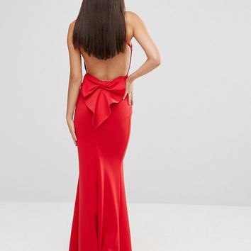 City Goddess Maxi Dress With Bow Detail And Exposed Back at asos.com