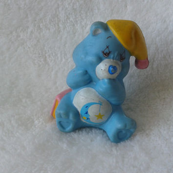 Vintage Care Bears Bedtime Bear with book pvc  toy miniature figure - 1983