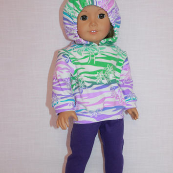 18 inch doll clothes, tropical print doll hoodie, purple knit leggings,  Upbeat Petites