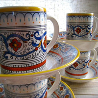 Dish Set, Dishes, Coffee Cups, Mugs, Tea Cups, Hand painted, Portugal, Portuguese Pottery, Bonvida, Faience, Majolica, Ceramic, Porcelain
