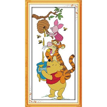 Winnie the Pooh And Pink Pig Stealing Honey Cross Stitch Embroidery Needlework Sets Wall Decoration Gifts for Kids