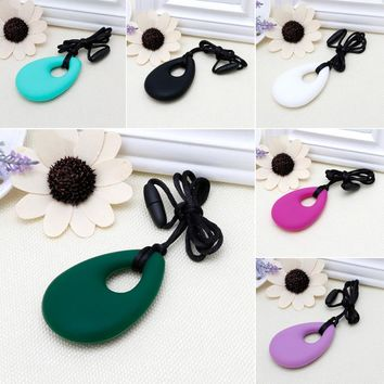 Silicone Teardrop Pendant Baby Teething Necklace Teether