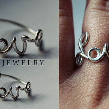 "Cursive ""Love"" Ring"