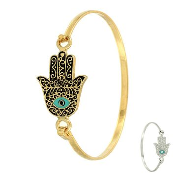 Hamsa Stack Bangle Bracelet- Silver or Gold