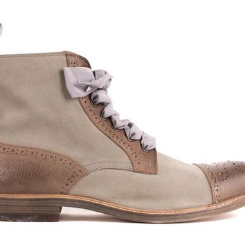 Brunello Cucinelli Womens Gray Brown Leather Brogue Combat Boots