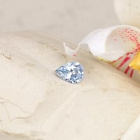 Pastel Blue Sapphire Tear Drop Shape Precision cut by Rogerio Graca