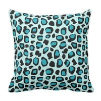 Turquoise Teal Blue Leopard Animal Print Girls Throw Pillow