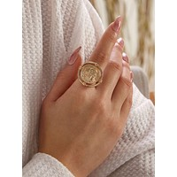 1pc Coin Decor Ring