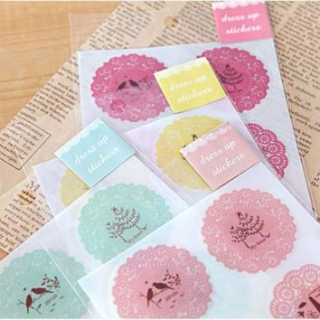 [XIROHO] cute tree lace round seal sticker cookery paper diary calendar sticker planner vintage sticky post it shool supplies