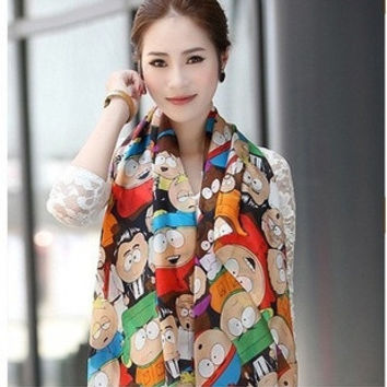Scarves Women Novel Cartoon Figure Fashion South Park Print Chiffon Silk Scarfs Woman 's Cape Shawl = 1958001540