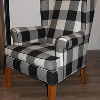 Buffalo Plaid Black and White Wingback Chair Refurbished Vintage
