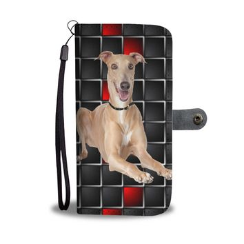 Cute Italian Greyhound with red Squares Print Wallet Case-Free Shipping
