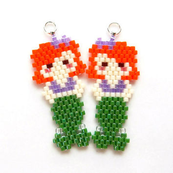 Delica Bead Mermaid Pendant / Charm, Brick Stitch Bead Weaving