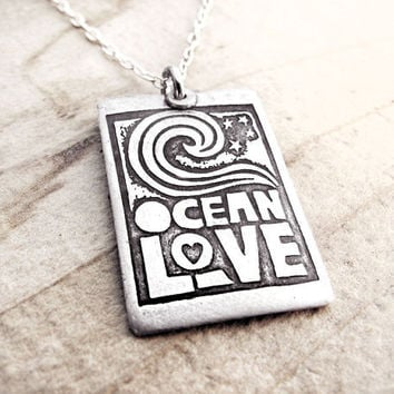 Ocean love necklace silver Raw Art by lulubugjewelry on Etsy