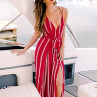 You Go Girl Striped Jumpsuit (Wine)