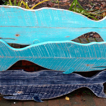 Whale Sign Vintage Weathered Wood Beach House Decor by CastawaysHall - Ready to Ship