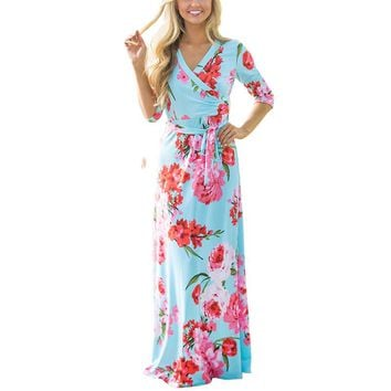 Three Quarter Maxi Dress Floor Length Boho Beach Party Floral Print Casual Long Rockabilly Vintage Robe