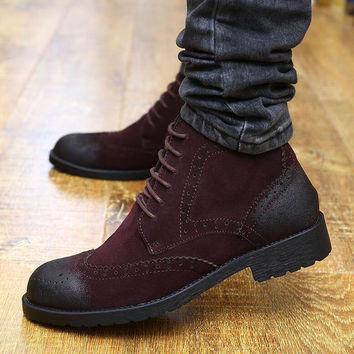 British Style Boots Winter Shoes Men Ankle Korean Version Cowhide Retro Cut Out Youth Internal Height Increase Cuban Heel Tie Up