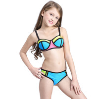 Patchwork Two Pieces Swimsuit Girls Bikini Children 2017 Kids Swimwear for Teenage Girls Child Bikini Set Beachwear Bathing Suit