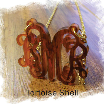 Monogram Necklace - Tortoise Shell Acrylic Monogram Necklace (Custom Jewelry Special Laser Cut ) Personalized Gift , Monogram Gift