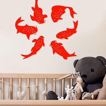 Vinyl Wall Decal Cartoon Funny Fish Sea Style Children's Room Decor Stickers (2672ig)