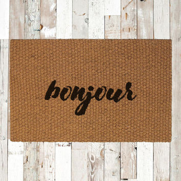 Bonjour Hand Painted Coir Doormat, Decorative Area Rug, Welcome Mat Housewarming Gift